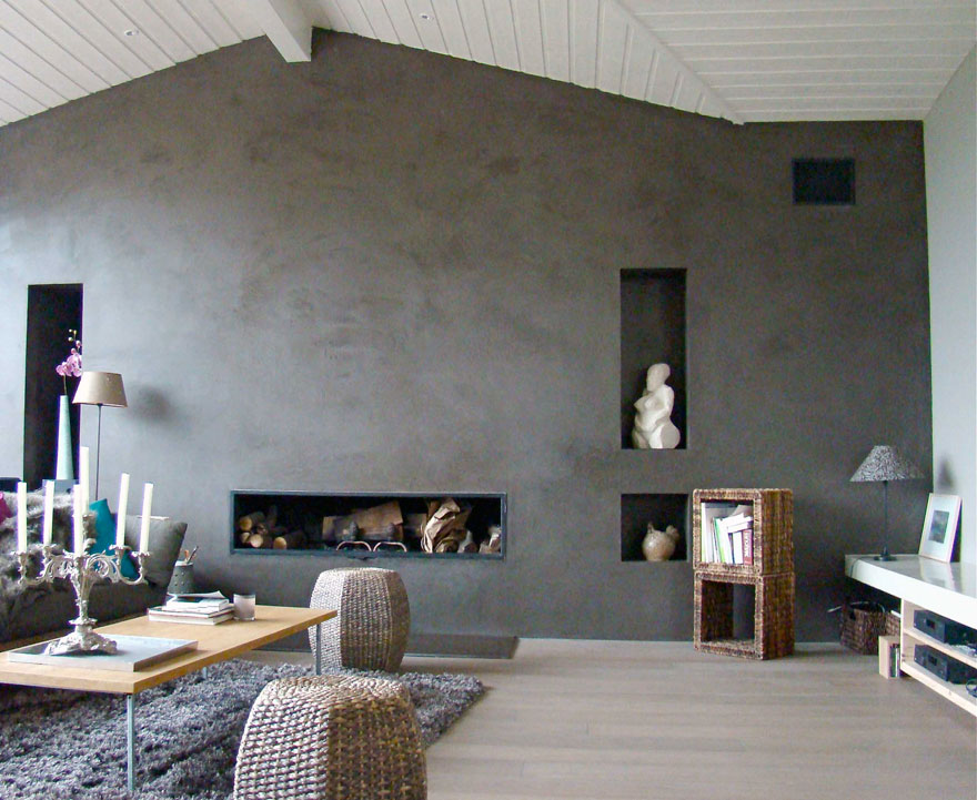 Maison ancienne normandie beton cire lyon paris for Mur beton cire salon